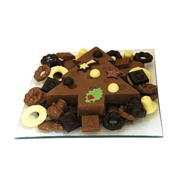 Chocolade kerst schaal de luxe met chocolade kerstboom