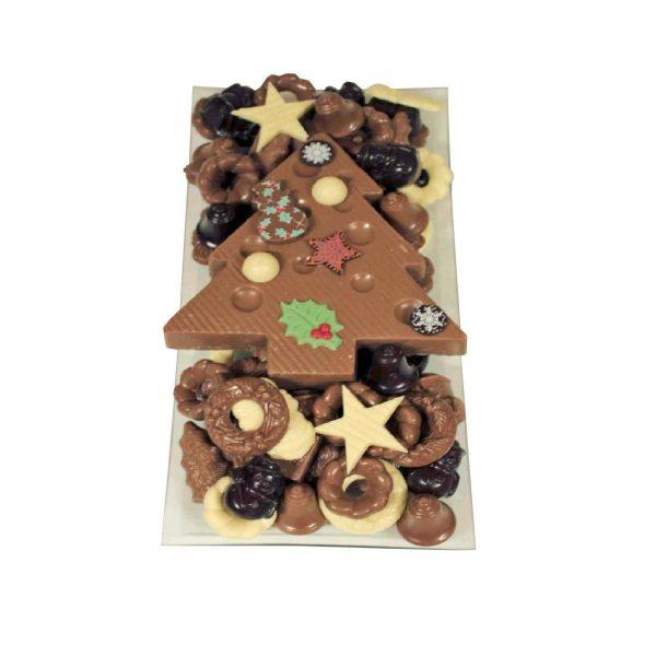 Kerst chocolade langwerpig met chocolade kerstboom
