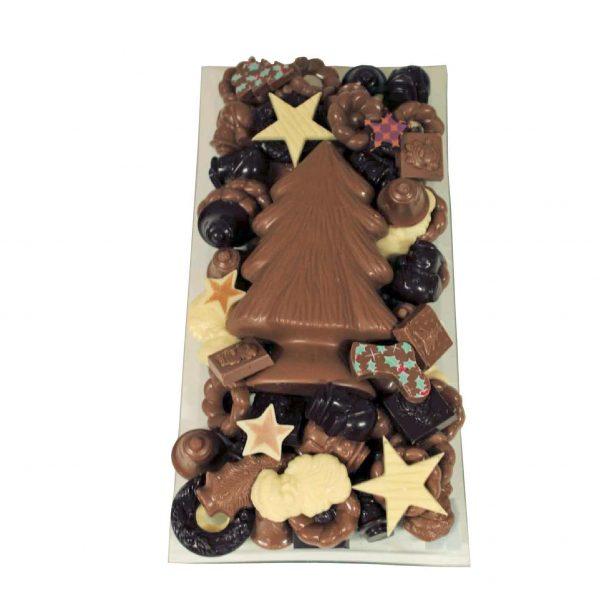 Kerst chocolade langwerpig met kerstboom
