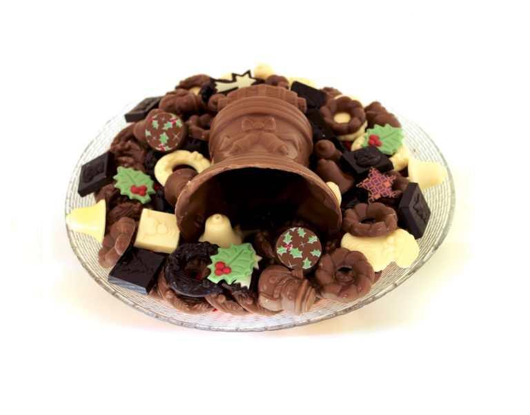 Kerst chocolade schaal met klok