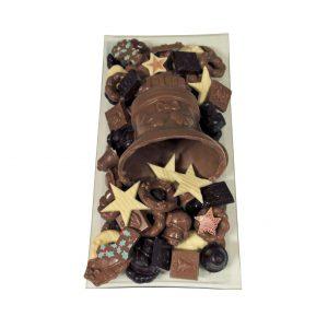 Kerst chocolade schaal met klok langwerpig