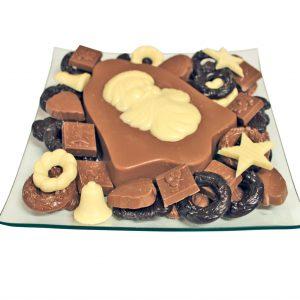 Kerst chocolade schaal santa bell