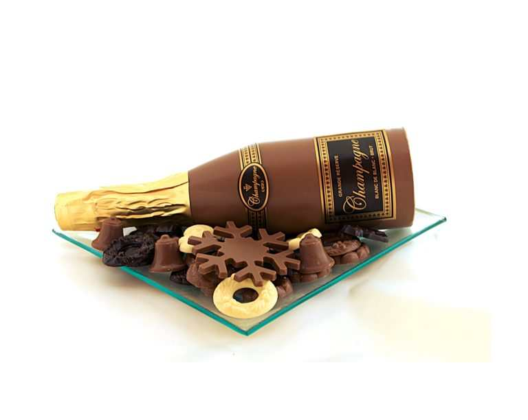 chocolade kerstschaal champagne