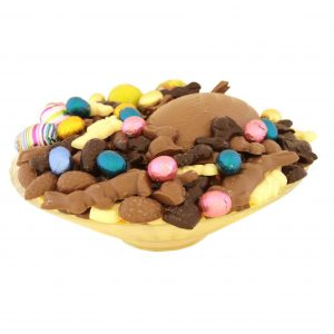 Paaschocolade schaal met half ei