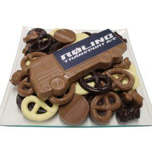 Chocolade vrachtwagen met logo schaal