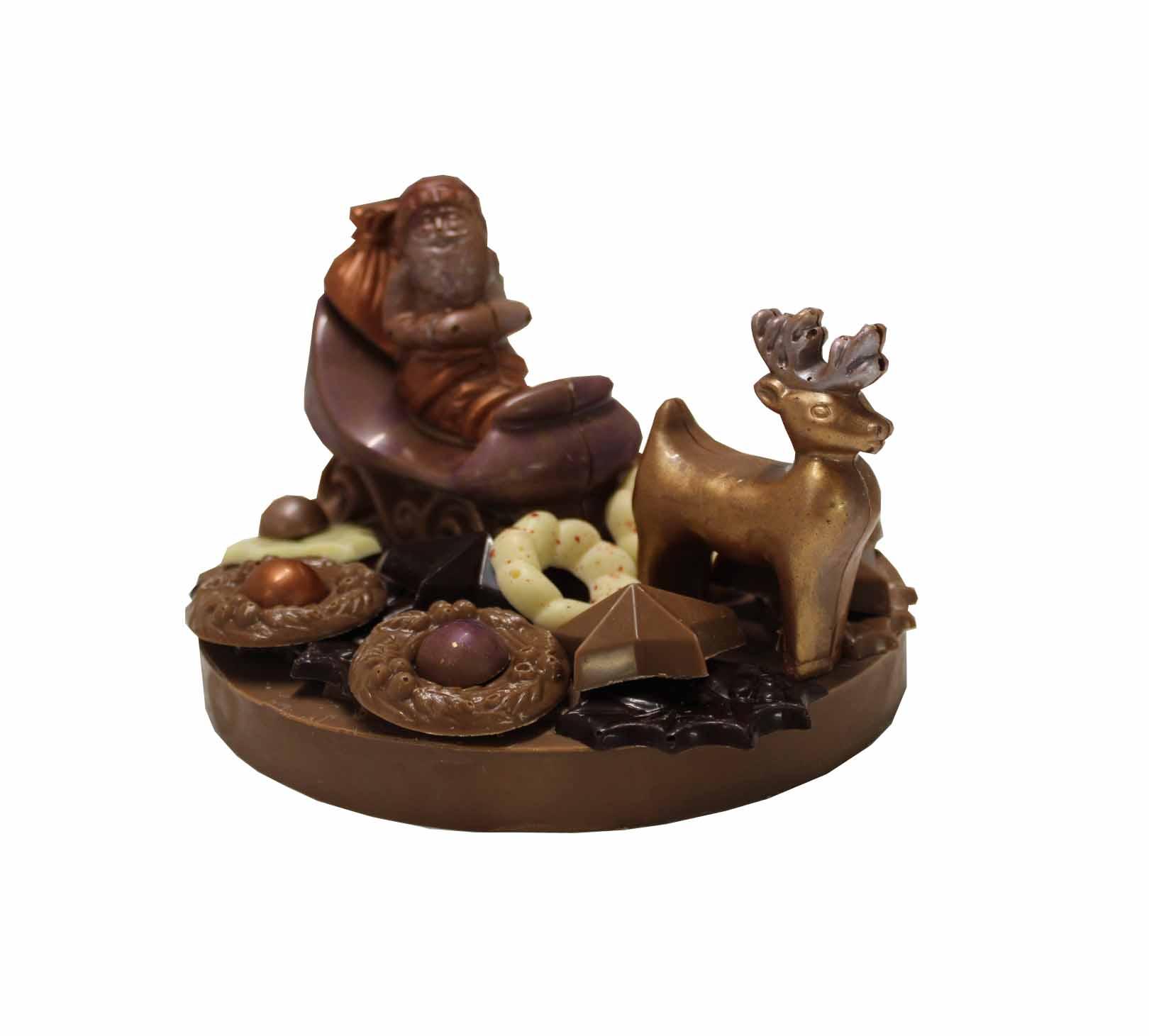 kerstman arreslee chocolade rond