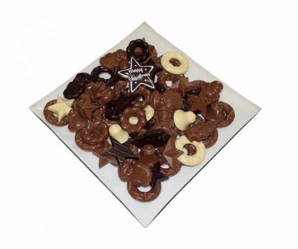 Chocolade kerst schaal merry x mas